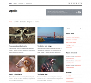 Apollo is a free minimal blogging WordPress Theme created by Authentic Themes. Demo | Homepage