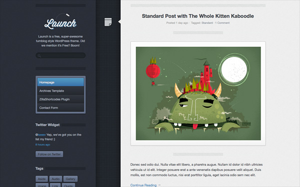 Launch - a 'super-awesome' tumblog style theme. Demo | Homepage